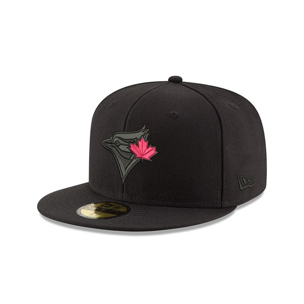 Toronto Blue Jays Black Logo with Red Leaf Fitted Cap by New Era