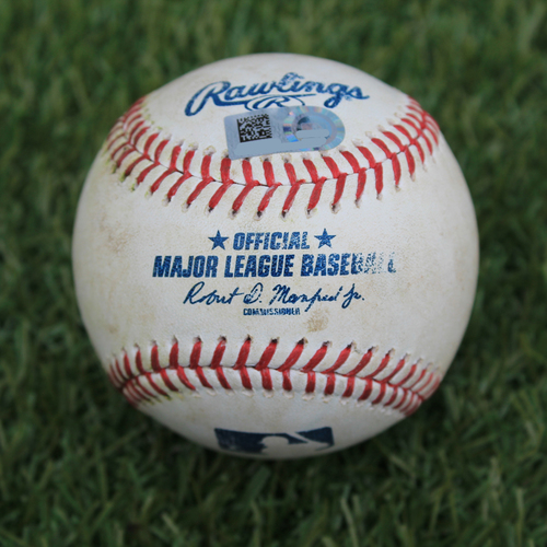 Photo of Game-Used Baseball: Juan Lagares 482nd Career Hit, Aaron Altherr 222nd Career Hit (NYM @ KC - 8/17/19)