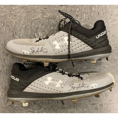 Photo of 2019 Holiday Sale - 2019 Autographed Cleats signed by #64 Shaun Anderson - Gray & Black Under Armour Cleats - Size 14