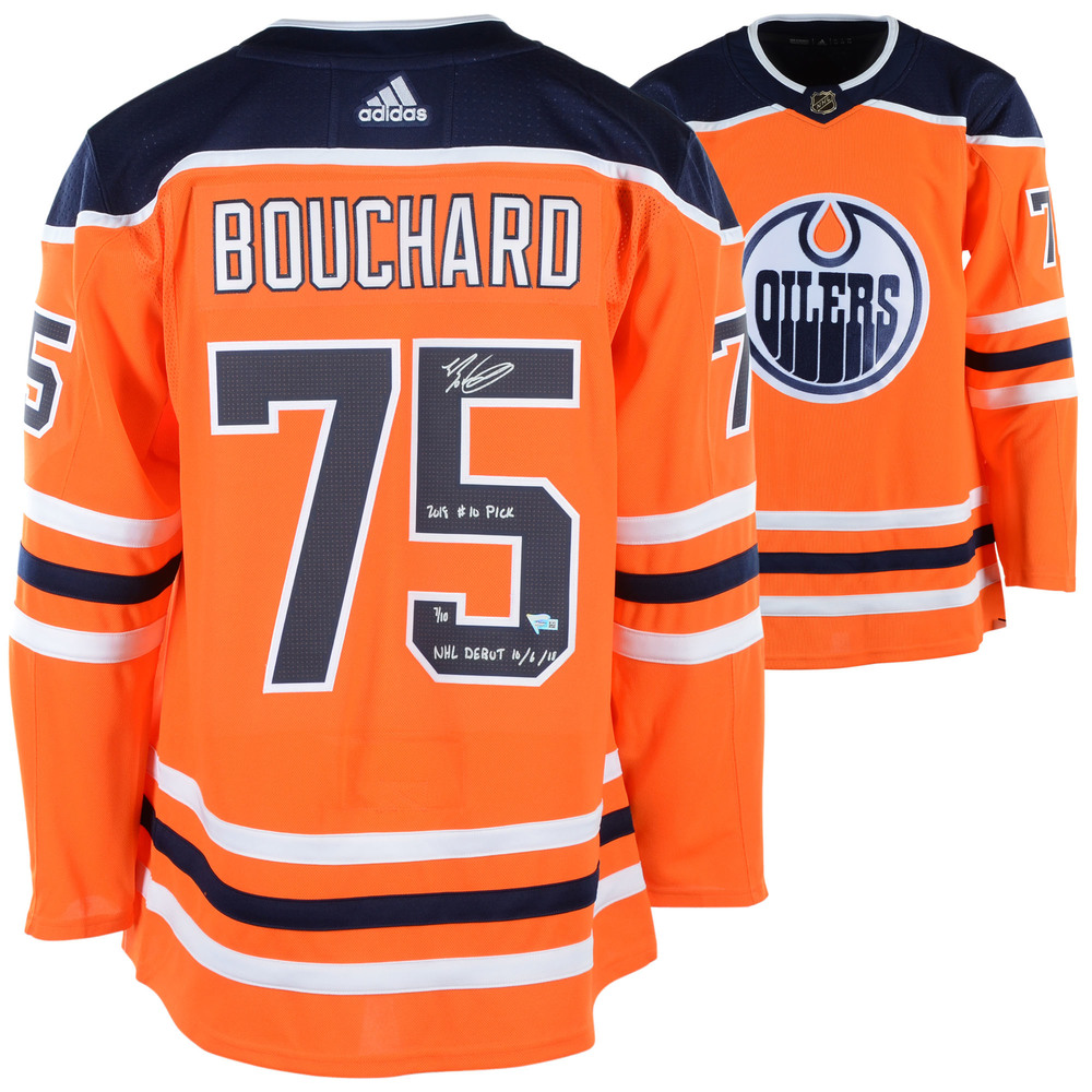 Evan Bouchard Edmonton Oilers Autographed Orange Adidas Authentic Jersey with Multiple Inscriptions - LE #1 of 10