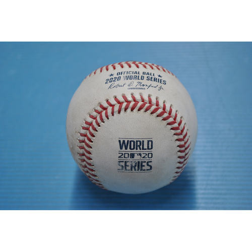 Photo of Game-Used Baseball - 2020 World Series - Tampa Bay Rays vs. Los Angeles Dodgers - Game 2 - Pitcher: Joe Kelly, Batters: Willy Adames (Strikeout Swinging), Kevin Kiermaier (Foul) - Top 6