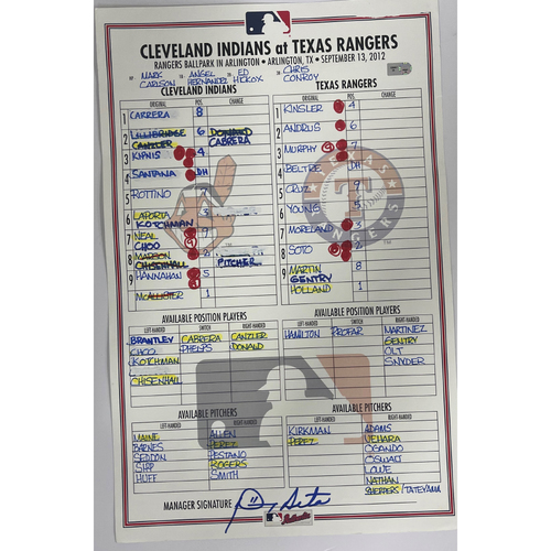Game Used Lineup Card - September 13, 2012, Indians at Rangers.