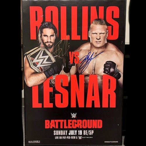Brock Lesnar and Seth Rollins SIGNED Battleground PPV Poster