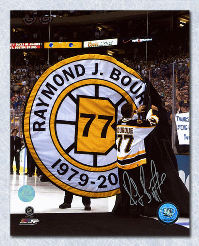 Ray Bourque Boston Bruins Autographed Jersey Retirement Night 16x20 Photo