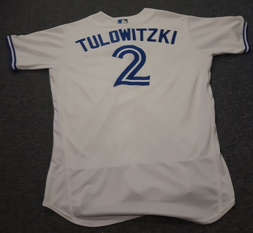 Photo of Authenticated Game Used Jersey - #2 Troy Tulowitzki (April 11, 2017: 2-for-3 with 2 Doubles and 3 RBIs - Home Opener). Size 48.