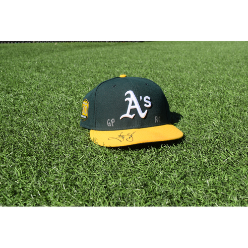 Photo of Oakland Athletics Game Used Autographed Scott Emerson 50th Anniversary Cap
