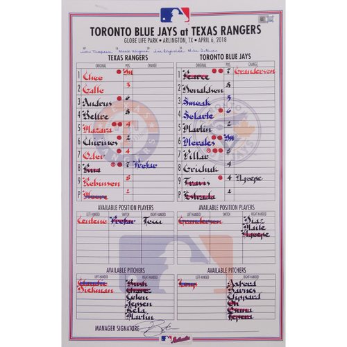 Photo of Blue Jays at Rangers - 4/6/18 - Game-Used Lineup Card