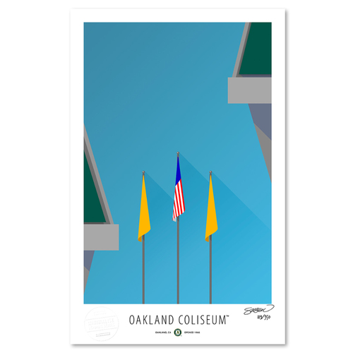 Photo of Oakland Coliseum - Collector's Edition Minimalist Art Print by S. Preston #119/350  - Oakland As