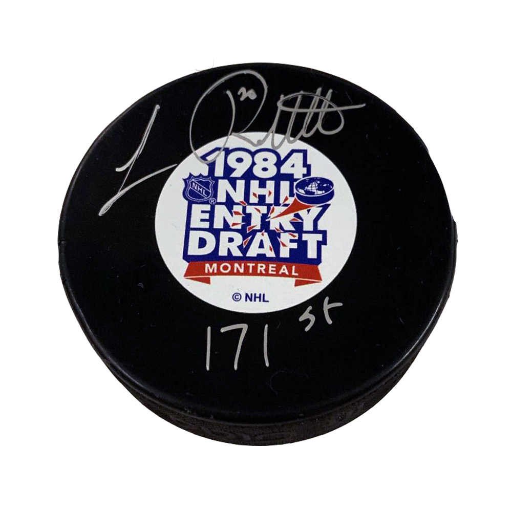 LUC ROBITAILLE Signed NHL Draft Puck with 171st Inscription