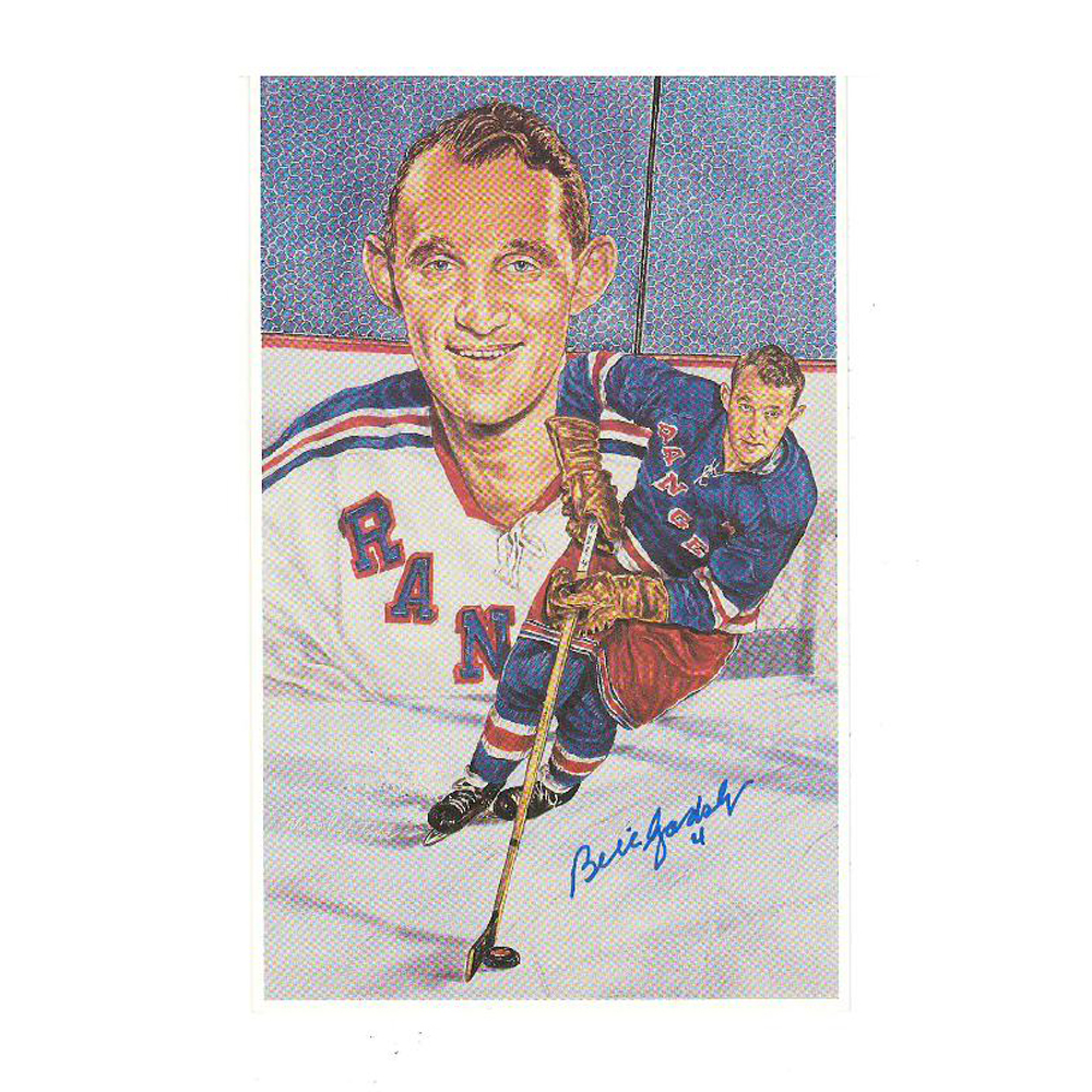 BILL GADSBY Signed New York Rangers Extra-Large Card (blue)