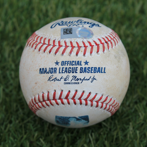 Photo of Game-Used Baseball: J.D. Davis 124th Career Hit (NYM @ KC - 8/16/19)