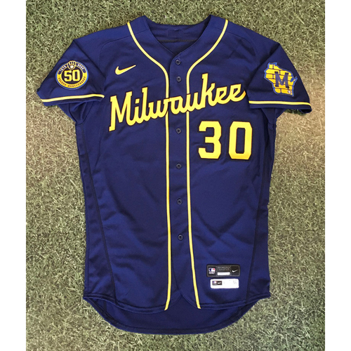Photo of Craig Counsell 2020 Team-Issued Road Navy Jersey