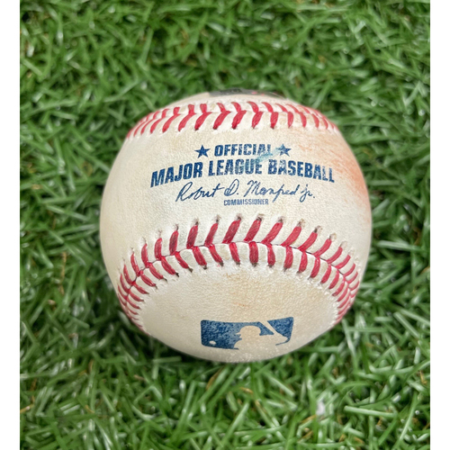 Photo of Game Used Baseball: Aroldis Chapman 2-pitches (ball, ball) to Wander Franco - Franco Rookie Season - Chapman 295th Career Save Game - Bottom 9 - July 27, 2021 v NYY