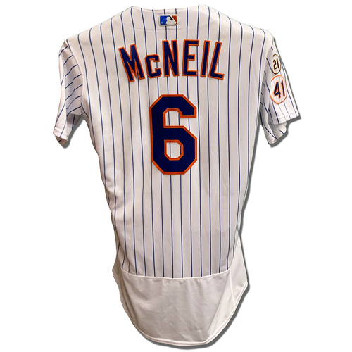 Photo of Jeff McNeil #6 - Game Used White Pinstripe Jersey with Seaver Patch - 3-4, 2B, 3B, 2 Runs Scored - Mets vs. Cardinals - 9/15/21