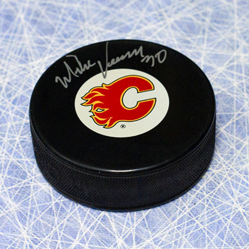 Mike Vernon Calgary Flames Autographed Hockey Puck