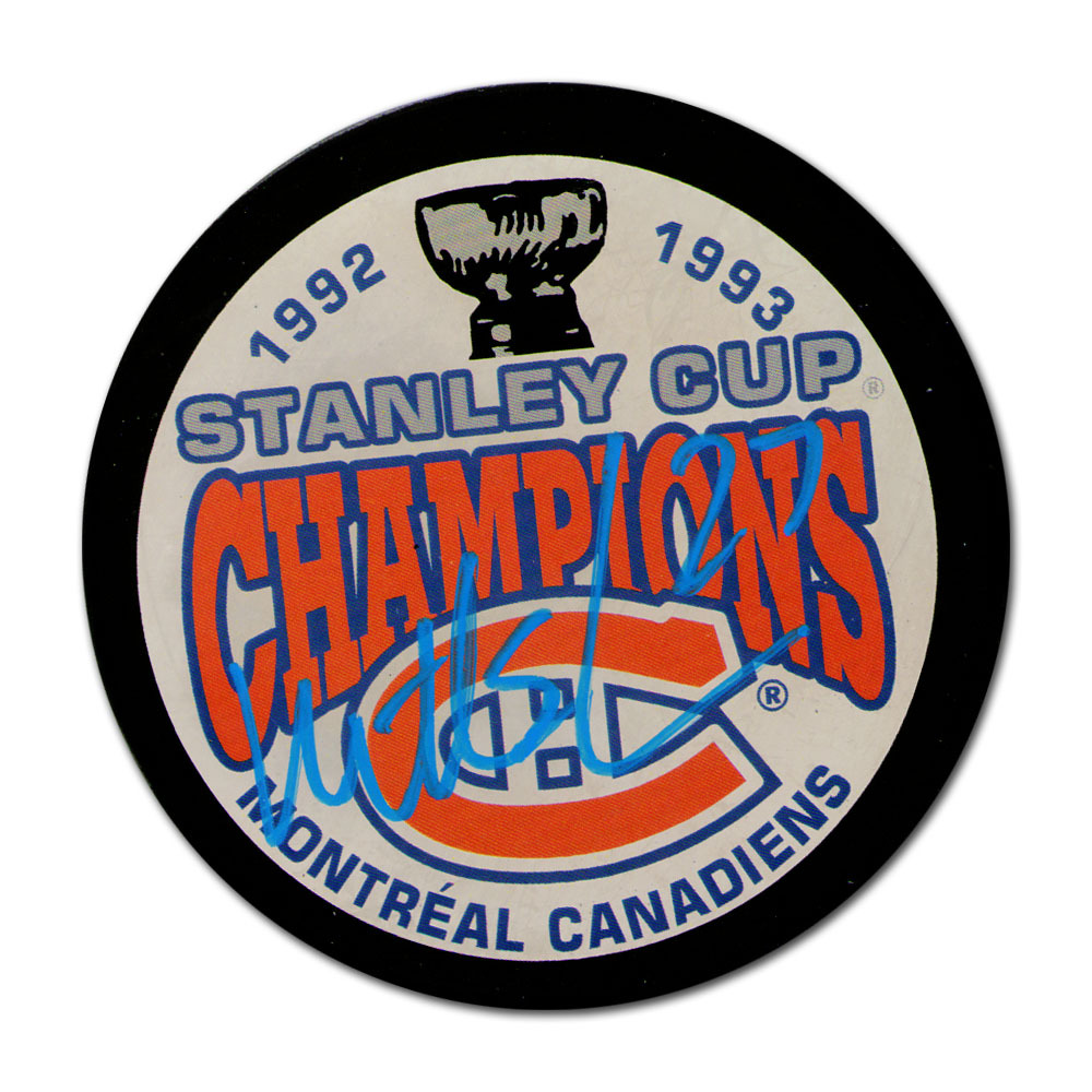 Mathieu Schneider Autographed Montreal Canadiens Autographed 1993 Stanley Cup Champions Puck