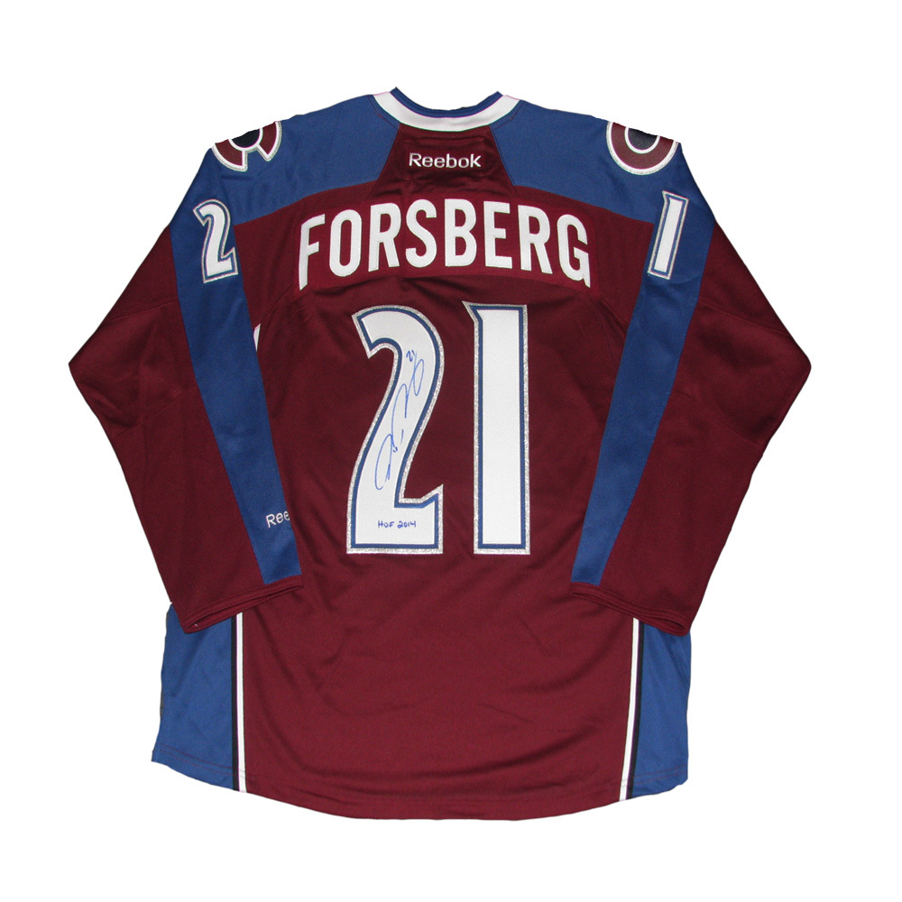 PETER FORSBERG Signed Colorado Avalanche Reebok Burgundy Jersey with HOF 2014 Inscription