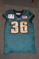 EAGLES - JAY AJAYI SALUTE TO SERVICE SIGNED PRACTICE WORN JERSEY NOVEMBER 2017 WITH CAMO NUMBERS