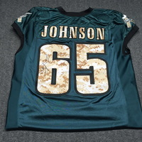 EAGLES - LANE JOHNSON SALUTE TO SERVICE SIGNED PRACTICE WORN JERSEY W/ CAMO NUMBERS (NOVEMBER 2017) SIZE 56
