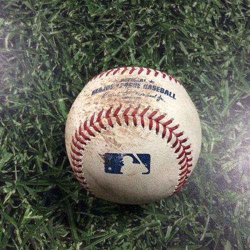 Photo of Game-Used Baseball ARI@MIL  05/21/18 - Zack Greinke - Lorenzo Cain: Single