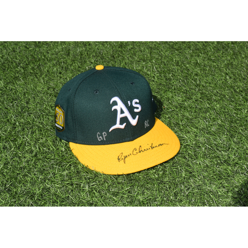 Photo of Oakland Athletics Game Used Autographed Ryan Christenson 50th Anniversary Cap