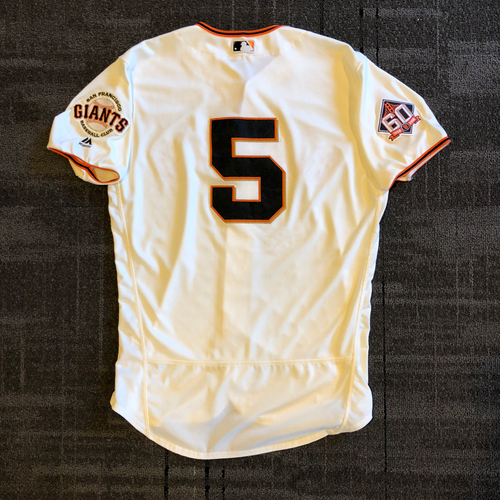 Photo of San Francisco Giants - 2018 Game Used Home Crème Jersey - Nick Hundley - Authenticated for 4 Home Runs and a 2 RBI Walk-Off Pinch Hit! Home Runs against every NL West Team! - Size 46