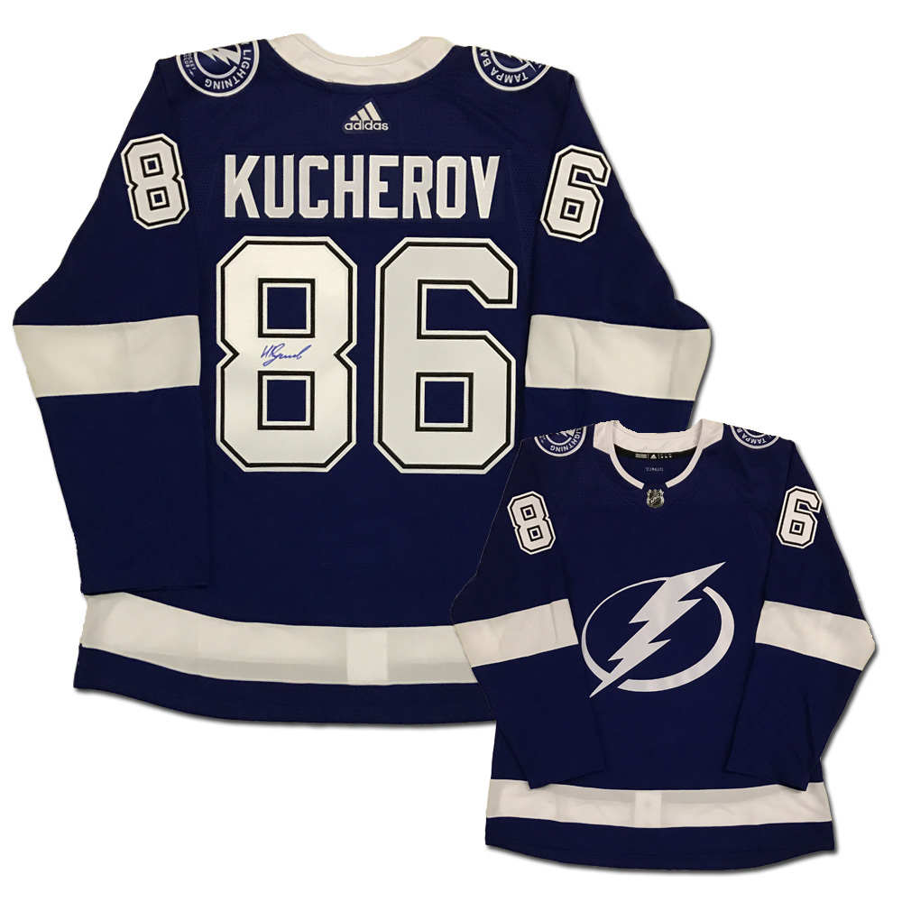 nikita kucherov signed tampa lightning blue adidas pro