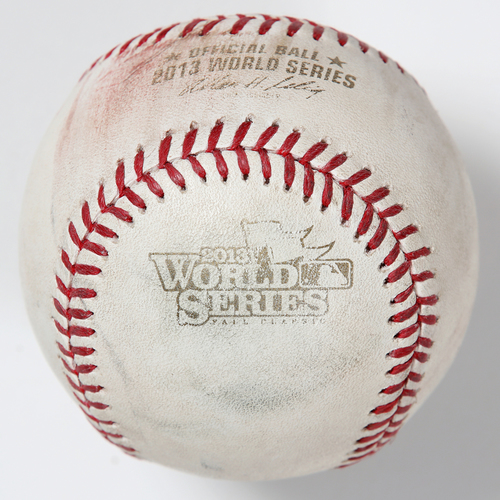 Photo of Game-Used Baseball: 2013 World Series Game 5 - Boston Red Sox at St. Louis Cardinals - Batter: Xander Bogaerts, Pitcher: Trevor Rosenthal - Top of 9, Foul Back to Screen