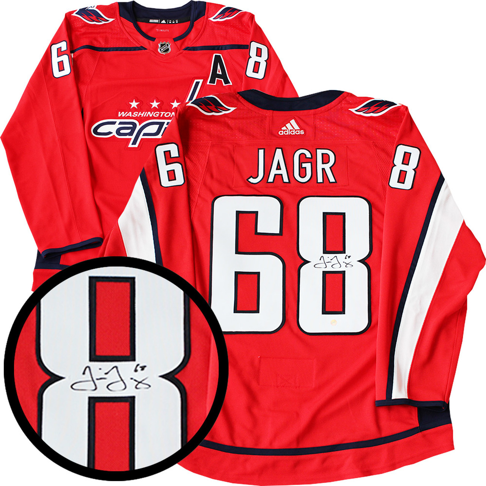 best service cf187 1c6cb Jaromir Jagr Signed Jersey Capitals Pro Red 2017-2019 Adidas ...