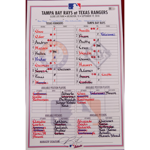 Rays at Rangers - 9/19/18 - Game-Used Lineup Card