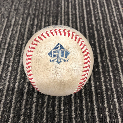 Photo of 2018 Game Used Baseball vs. Milwaukee Brewers on 7/29 B-4: Junior Guerra to Andrew Suarez - Single to LF (Career Hit #2)