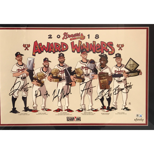 Photo of MLB Authenticated & Autographed 2018 Atlanta Braves MLB Award Winners Poster (Framed)