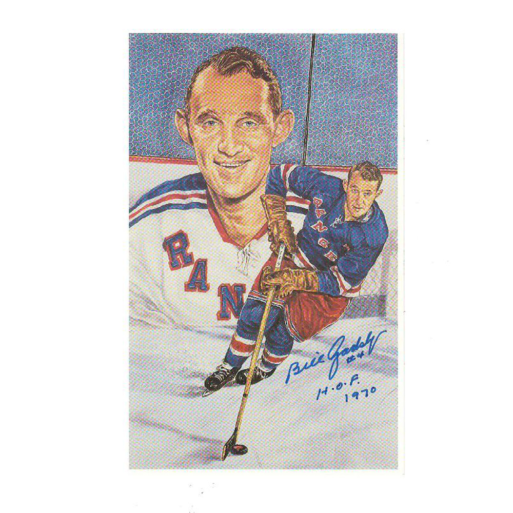 BILL GADSBY Signed New York Rangers Extra-Large Card (blue w hof)