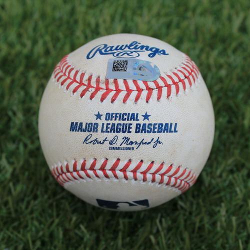 Photo of Game-Used Baseball: Juan Lagares 483rd Career Hit (NYM @ KC - 8/17/19)
