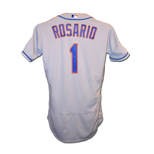 Photo of Amed Rosario #1 - Game Used Road Grey Jersey - 5-6, 4 R, RBI - Mets vs. Braves - 8/15/2019