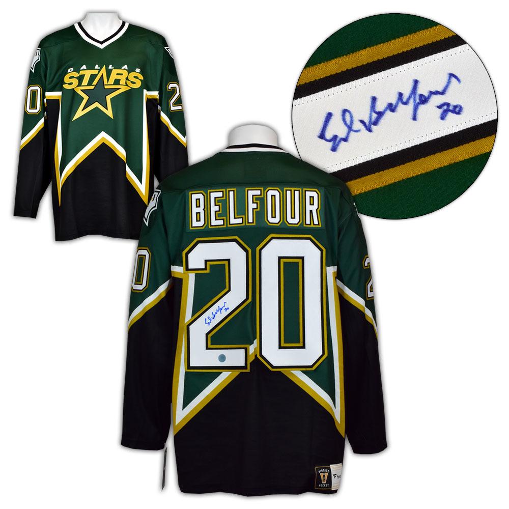 Ed Belfour Dallas Stars Autographed Cup Era Fanatics Vintage Hockey Jersey