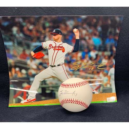 Photo of Sean Newcomb Autographed Ball and Photo Combo