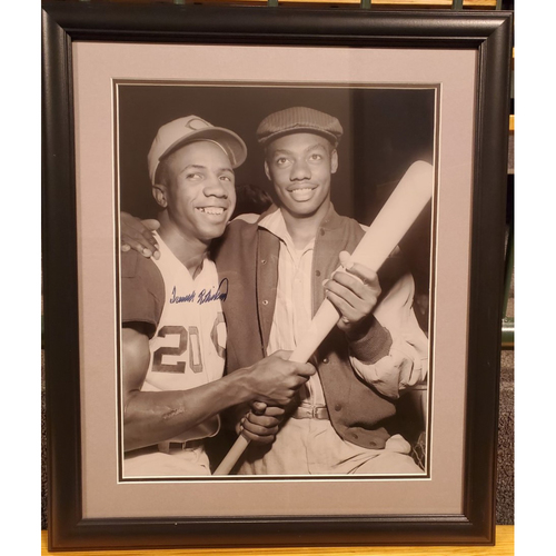 Photo of Framed Frank Robinson and Oscar Roberton Photo, signed by Frank Robinson