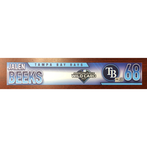 Photo of Game Used Wild Card Locker Tag: Jalen Beeks - October 2, 2019 at OAK