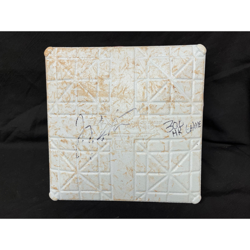 Photo of Joey Votto *Game-Used, Autographed & Inscribed* Second Base (Innings 1-4) -- Used On Field for Joey Votto's 300th Career Home Run -- CHC vs. CIN on 04/30/2021