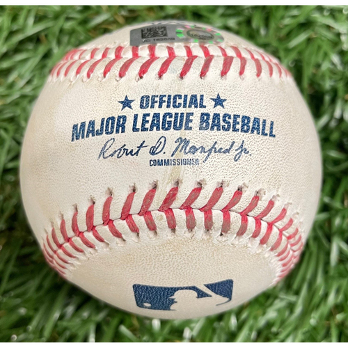 Photo of Game Used ALWCS Game #2 Baseball: Mike Zunino single off Rafael Dolis - Mike Zunino #2 Career Postseason Hit - Bottom 8 - September 30, 2020 v TOR