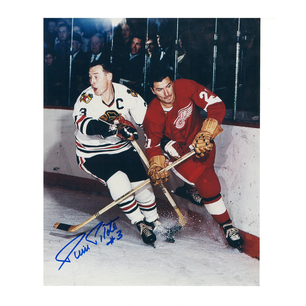 PIERRE PILOTE Signed Vintage Chicago Blackhawks 8 X 10 Photo - 70116