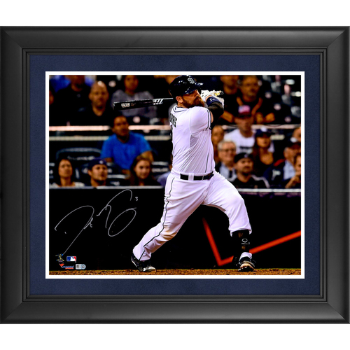 "Photo of Derek Norris San Diego Padres Deluxe Framed Autographed 16"" x 20"" White Hitting Photograph"