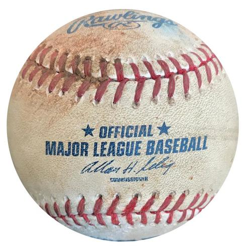Photo of Game-Used Baseball from Pirates vs. Brewers on 4/18/14 - Russell Martin RBI Single