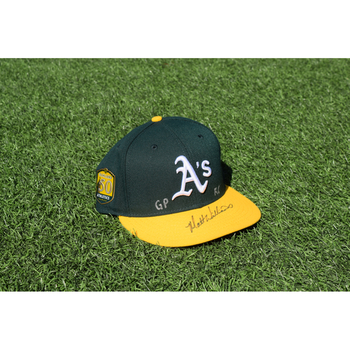 Photo of Oakland Athletics Game Used Autographed Matt Williams 50th Anniversary Cap