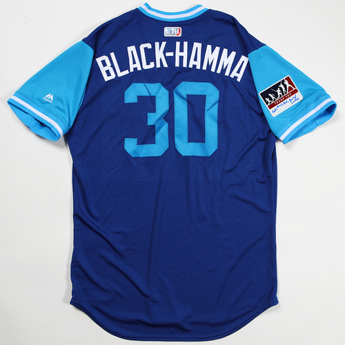"Photo of Anthony ""Black-Hamma"" Alford Toronto Blue Jays Team Issued Jersey 2018 Players' Weekend Jersey"