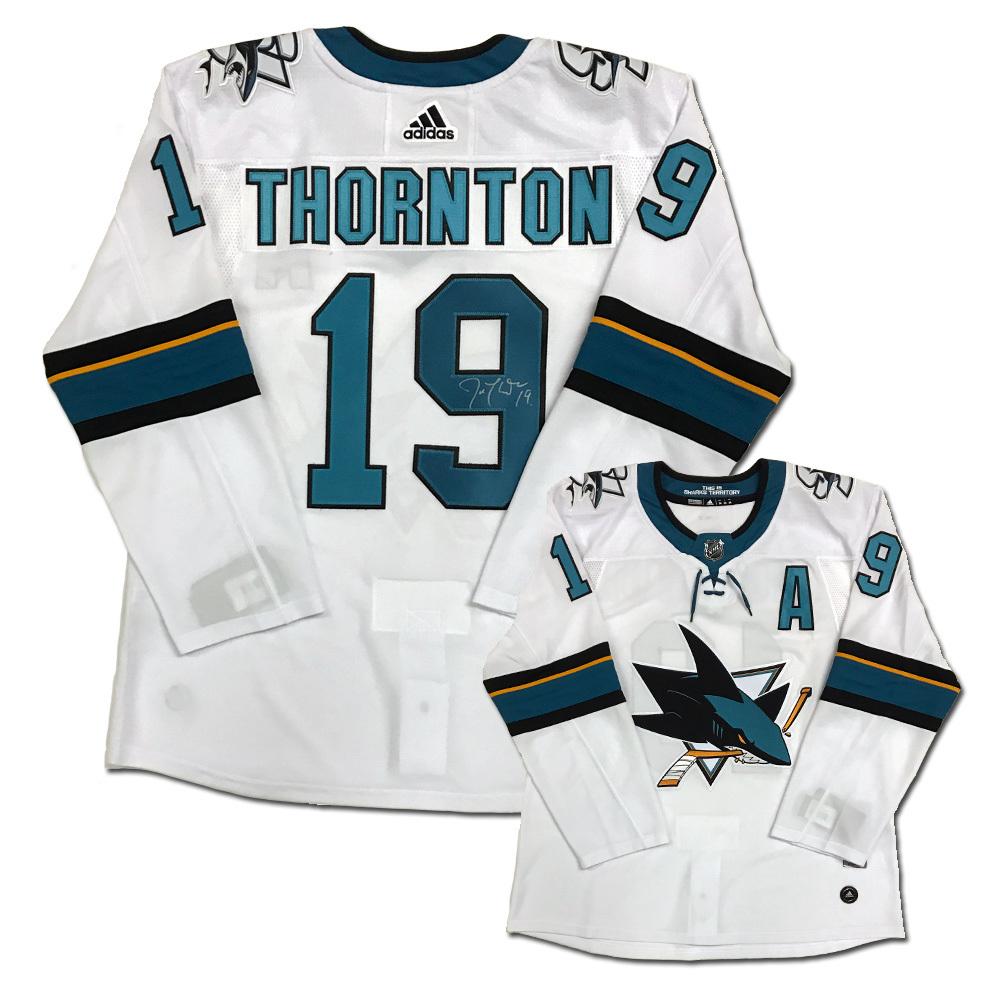 JOE THORNTON Signed San Jose Sharks White Adidas PRO Jersey - NHL ... b00cf0835