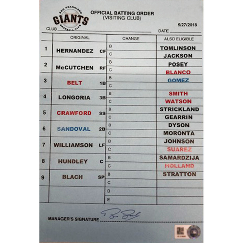 Photo of Official Visitor's Batting Order Card -- Giants vs. Cubs -- 5/27/18 -- Signed by Bruce Bochy