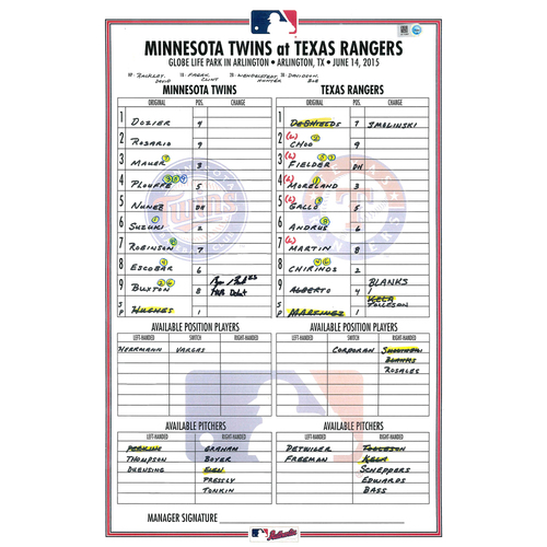 Photo of Minnesota Twins Autographed Replica Debut Lineup Card - Byron Buxton