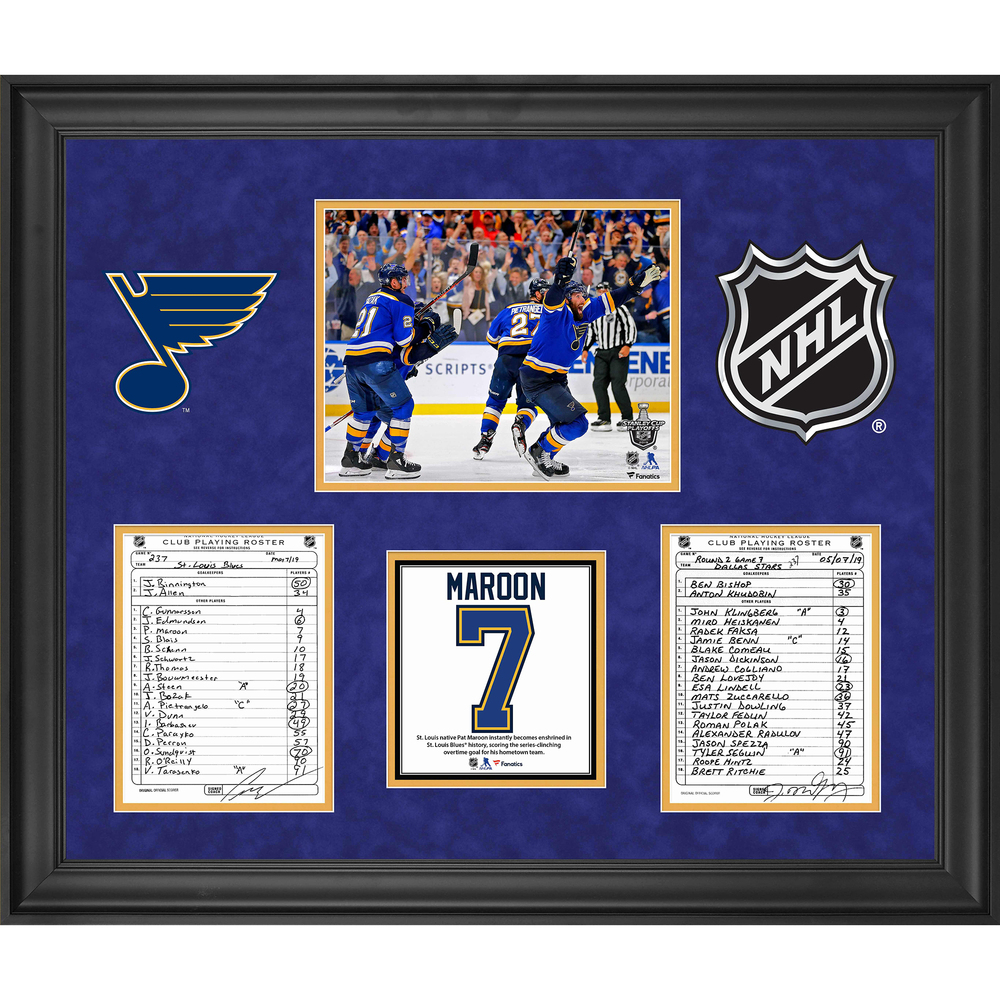 St. Louis Blues Framed Original Line-Up Cards from May 7, 2019 vs. Dallas Stars - Round 2 Game 7 - Pat Maroon Series-Clinching Goal